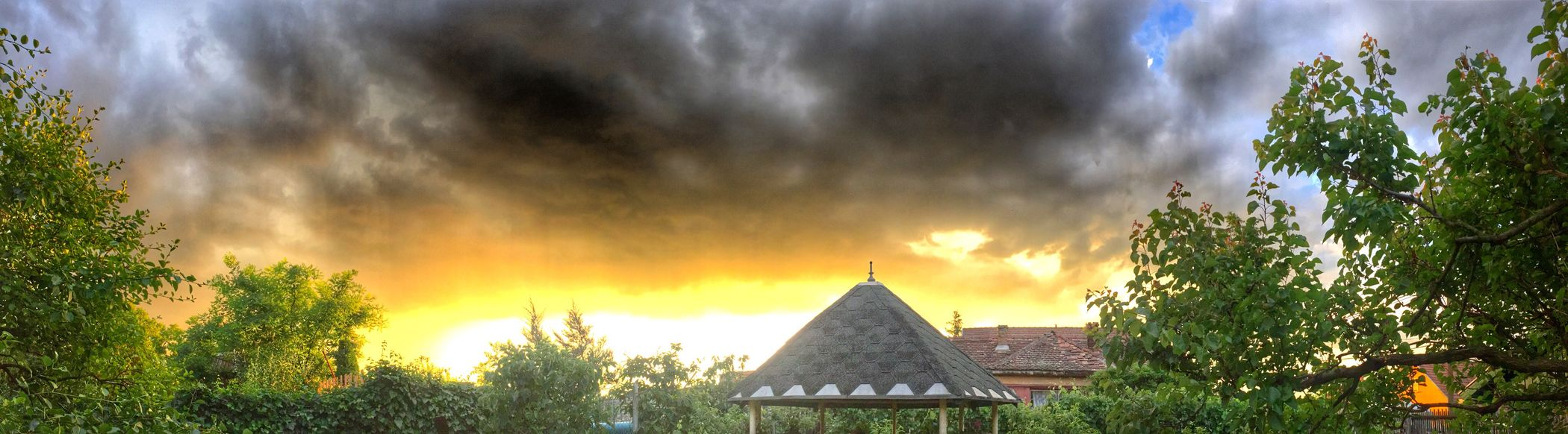 Sunshine Darkness Garden Light Behind Clouds Yellow Trees And Sky Trees Storm Storm Cloud Roof Taking Photos Enjoying Life