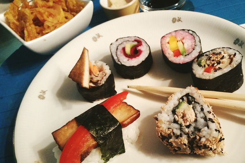 EyeEm Selects Food Ready-to-eat Food And Drink Plate Indoors  Freshness Healthy Eating Temptation Serving Size No People Appetizer Gourmet Close-up Yummy Vegan Food Vegan Sushi すし