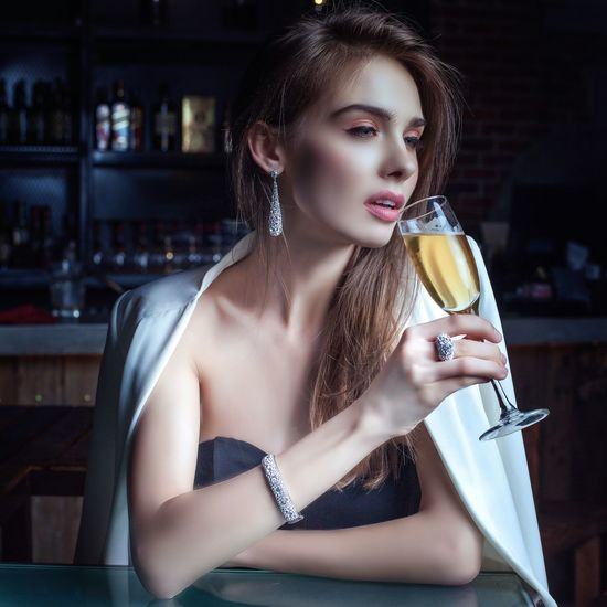 Beautiful Woman One Person Young Adult Beauty Drink Young Women Drinking Real People Refreshment Fashion Beautiful People One Young Woman Only Lifestyles Portrait Glamour Indoors  Close-up Day People Jewelry