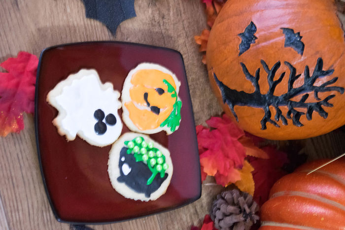 Baked Goods Cookies Halloween Halloween Treats SugarCookies Treats Anthropomorphic Face Close-up Communication Day Festive Focus On Foreground Food Food And Drink Freshness Indoors  Multi Colored No People Ready-to-eat Still Life Sugar Cookies Sweet Food Table Text