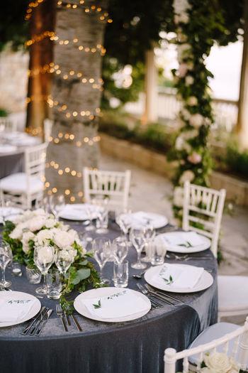 Flower pot on table