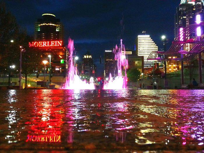 Cincinnati Cities At Night Smartphonephotography Water Reflections Water Feature Downtown Cincinnati