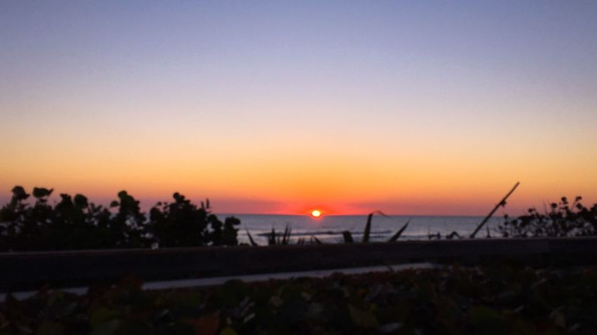 First Glimpse Of Sunrise 🌅 Sun Beauty In Nature Beach Sea Clear Sky Water Tranquility Sky Horizon Over Water EyeEm In The Distance 🌅 Beautiful Sunrise_Collection Sand Shore My View This Morning Colors Of The Morning Sky Dawn Beginning Summertime Peaceful