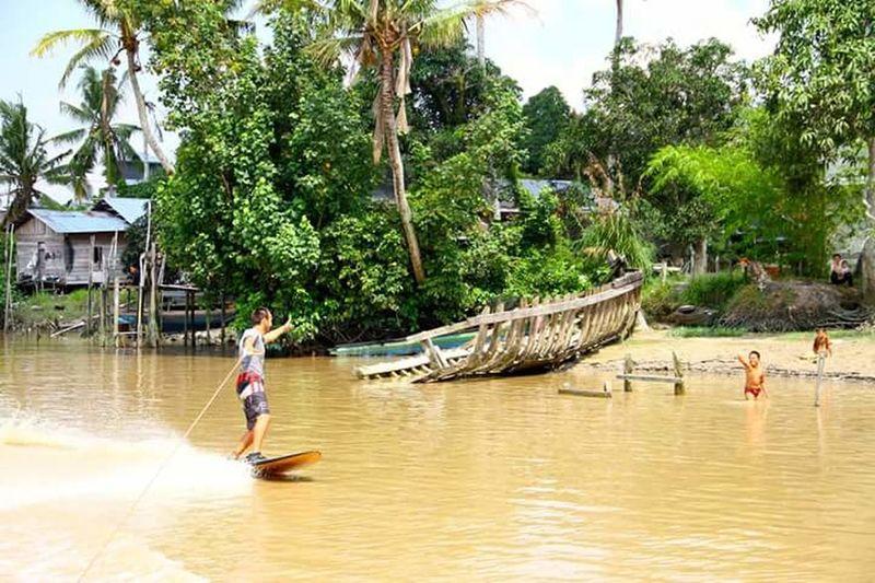 Man rowing boat in sea against trees
