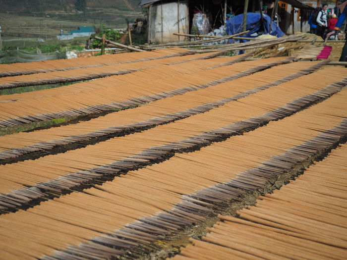 Rows Of Fresh Made Drying Incense Sticks
