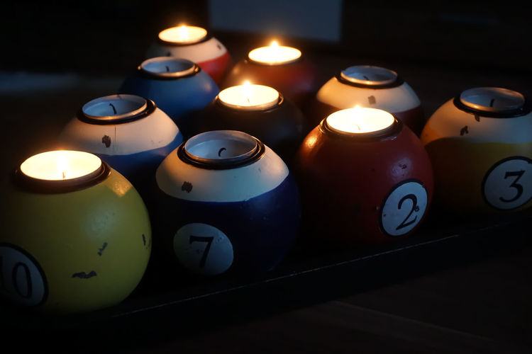 Close-up of illuminated candles on table