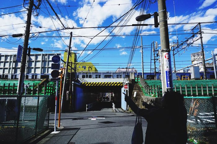 Sky Cable Built Structure Architecture Outdoors Building Exterior Power Line  Blue Sky Underpasssubway Subway Cartoonish A5100 Shinokubo Tokyo Street Photography