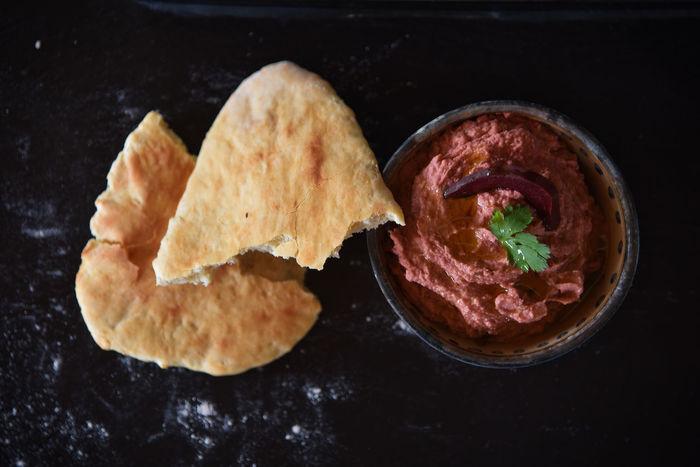 Autumn Beet Root Food Hummus Indoors  Naanbread Oriental Style