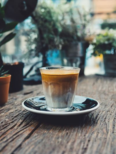Layers of coffee. Mocha Drink Latte Cafe Tea - Hot Drink Drinking Glass Table Coffee - Drink Coffee Break Wood - Material Hot Drink Cafe Macchiato Saucer Frothy Drink Froth Art Black Tea Cappuccino Hot Chocolate Black Coffee Espresso Liqueur Beverage Coffee Caffeine Teabag Tea Froth