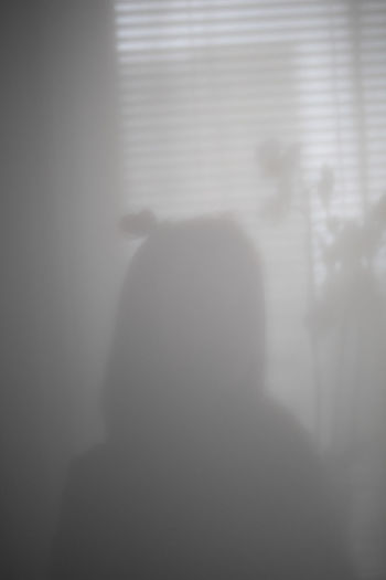 Rear view of silhouette man standing against curtain