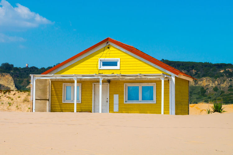 Costa de caparica is the famous tourist destination, with the typical tiny colorful house