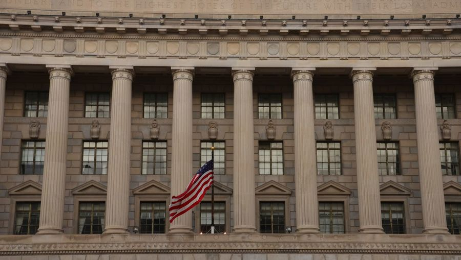 View of flag on building