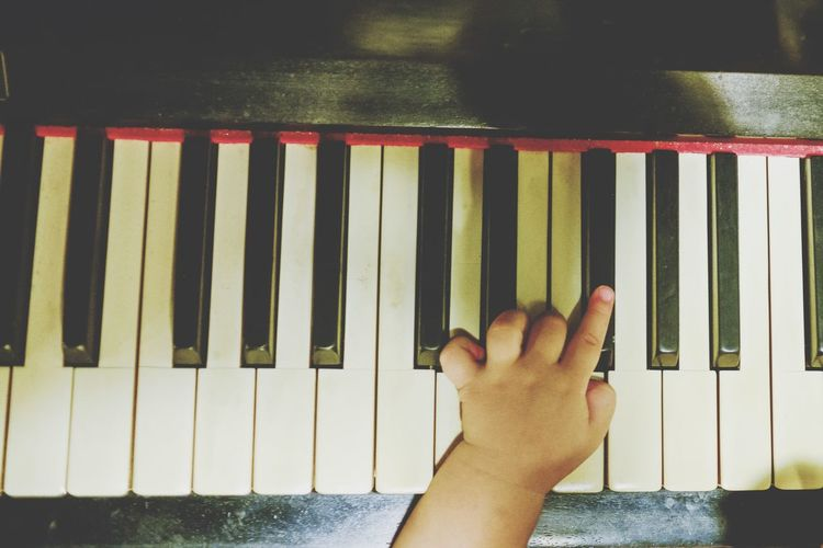 Future pianist Enjoying Life Child Childhood Infant Human Body Part Human Hand Hand One Person Real People Body Part Personal Perspective Finger Unrecognizable Person Close-up Human Finger Indoors  Lifestyles Arts Culture And Entertainment Leisure Activity High Angle View Day Music Nature Piano Key