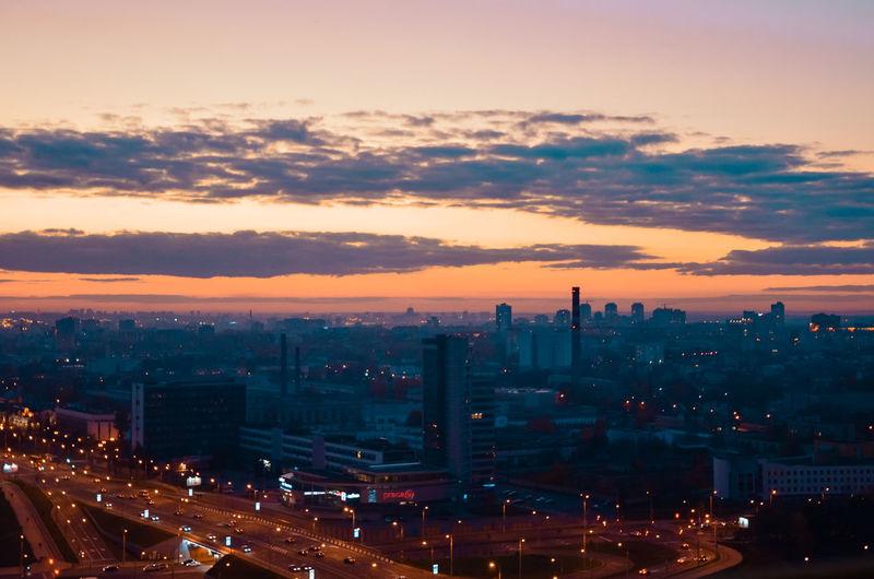 Sunset Evening Belorussia Minsk City Citylife View Sky Evening Sky Evening Sun Lights Travel
