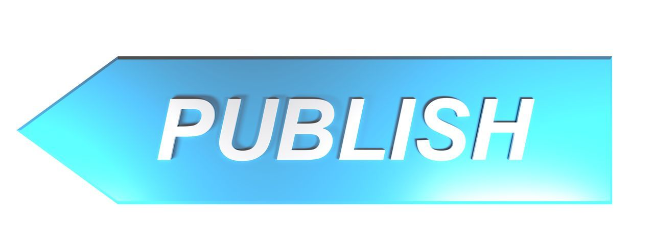 PUBLISH on blue