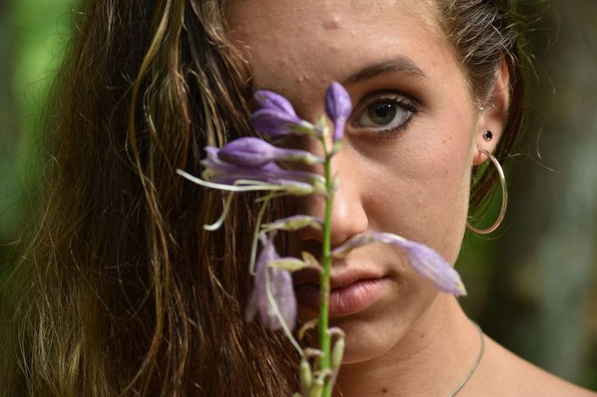 Beauty At Its Finest. #FlowerChild #PurpleFlower #beauty #love #harmony #tenderness #bokehshot #girl #latina #like #dailypictures #cool #nice #follow Adult Beautiful Woman Close-up Day Flower Girls Headshot Real People