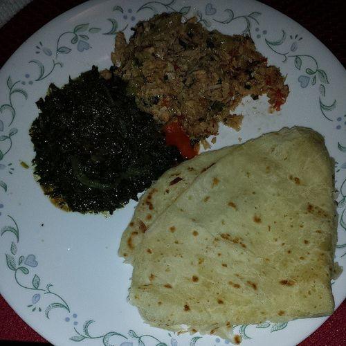 Dinner w/ Grandma!!! Bhagee Friedsalmon Oilroti Liptontea Guyanese homemade worldsgreatestchef shetaughtmetocook chataymyplate