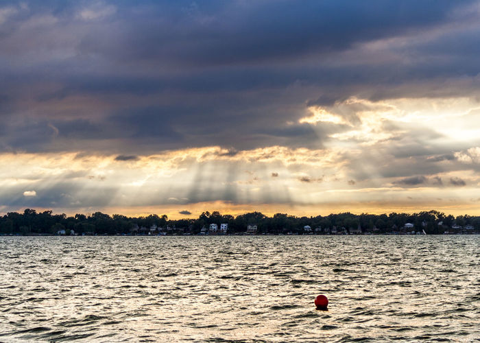 Beauty In Nature Blue And Yellow Buoy Calm After The Storm Cloud - Sky Cloudy Sunset Eerie Beautiful End Of Day End Of Summer Indiana Indiana Sunset Lake Life Lake Maxinkuckee Lake View Nature Sky Storm Clouds Storm Clouds At Sunset Summertime Sunset Water