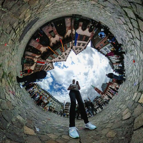 Howdy... Theta360 Real People One Person Full Length Day Cloud - Sky Fish-eye Lens Leisure Activity Outdoors Lifestyles People Sky Architecture Adult Adults Only Thetameetfrankfurt Rethink Things The Creative - 2018 EyeEm Awards