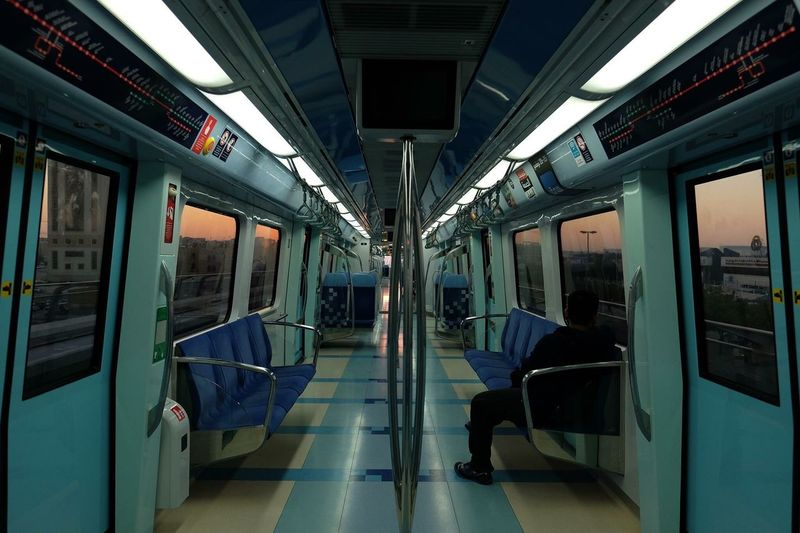 Man traveling in train