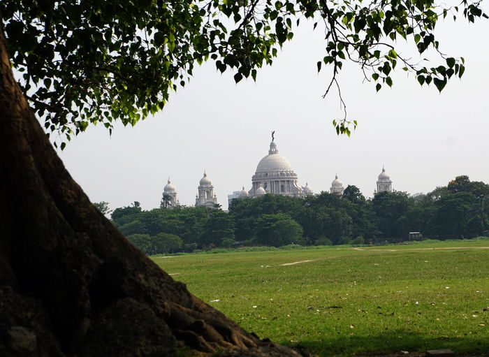 The Victoria Memorial one of most famous monuments of India, situated at heart of the City of Joy, Kolkata Calcutta in West Bengal. It is built of white marble, in year between 1906 -1921. This magnificent architectural building was conceptualized by George Curzon and Viceroy of India to dedicate the memory of Queen Victoria 1819–1901. Now it is become most popular tourist destination and museum of India. Victoria Memorial - Kolkata Tree Plant Architecture Built Structure Nature Sky Travel Destinations Building Exterior Grass Dome Travel Tourism Growth No People Day Religion Green Color Outdoors Clear Sky History Spire  Victoria Memorial Building Monuments
