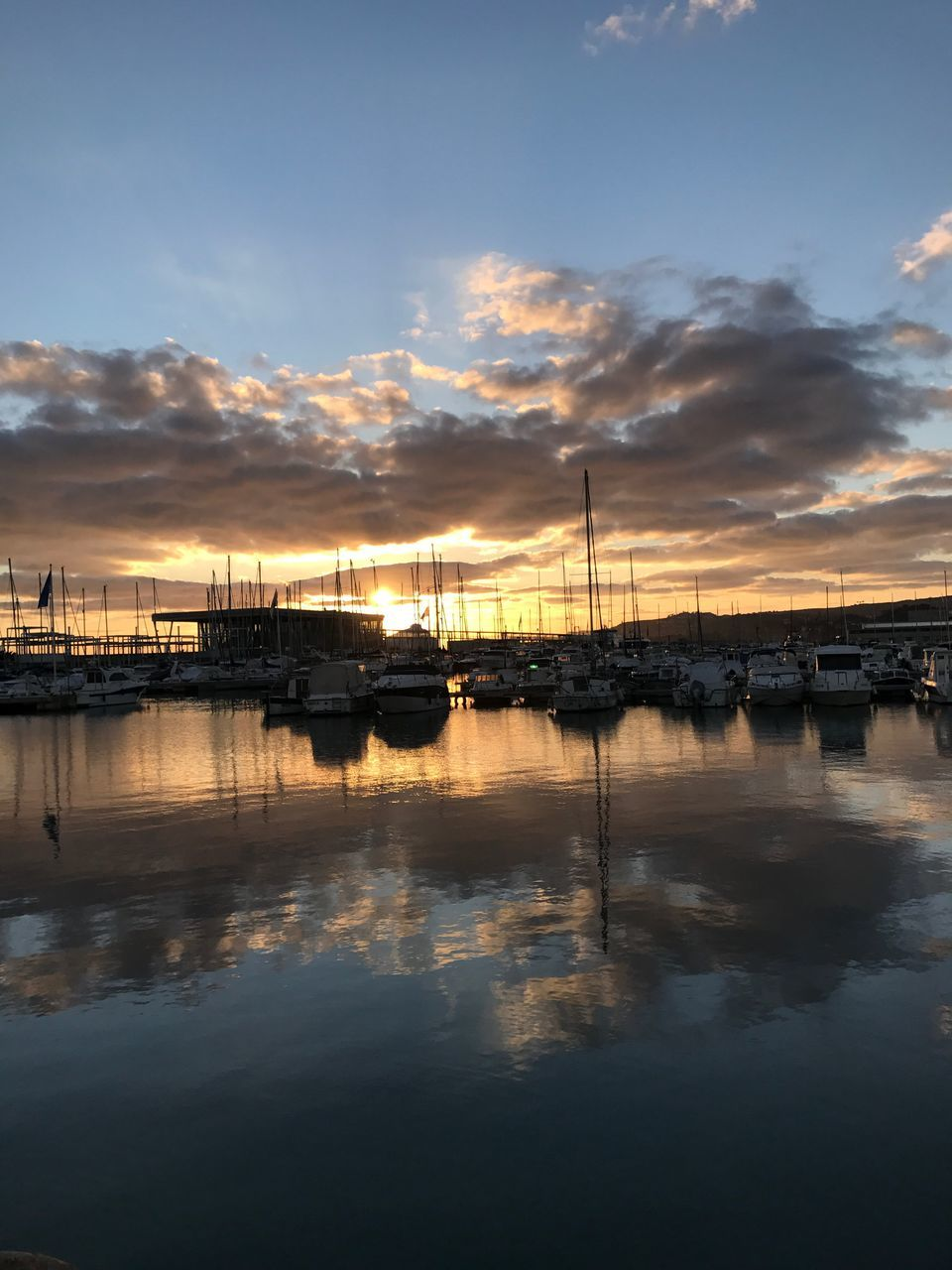 sunset, water, reflection, sky, cloud - sky, beauty in nature, scenics, tranquility, tranquil scene, nautical vessel, nature, waterfront, sea, no people, transportation, moored, outdoors, mode of transport, silhouette, harbor, mast, day