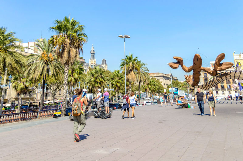 Barcelona Barcelona SPAIN Colorful Architecture Tree Palm Tree Sky Shore Tourist Visiting City Break Tourism Beach Coast Large Group Of People My Best Photo