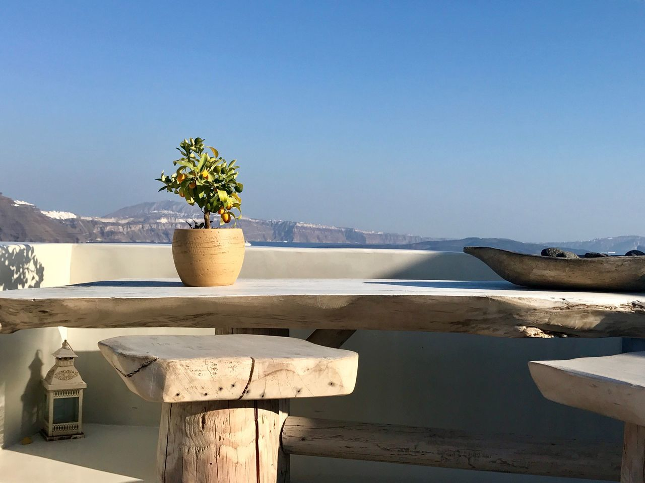 no people, nature, water, wood - material, day, sunlight, potted plant, outdoors, beauty in nature, tranquility, sea, flower, scenics, sky, clear sky, nautical vessel, close-up
