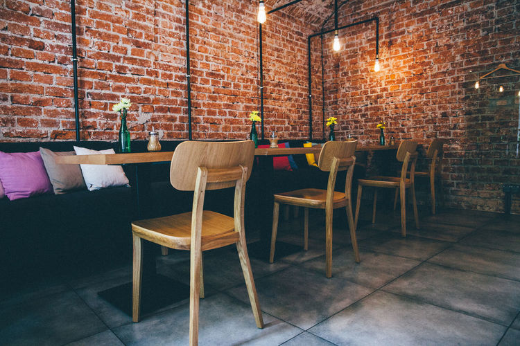 Brick Wall Chair Chairs Empty No People Restaurant Table Urban My Favorite Place