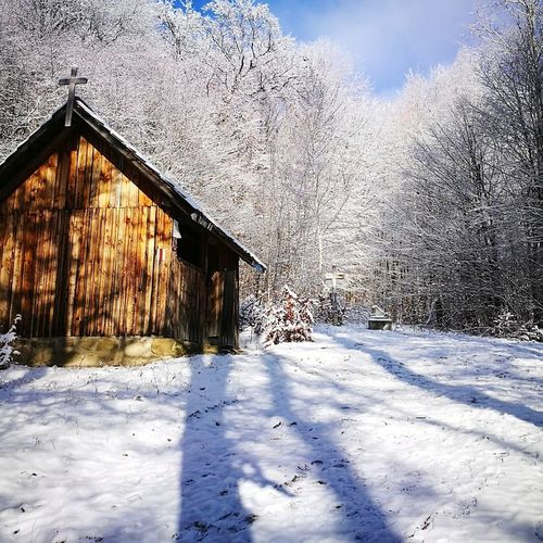 Wintermood Snowcapped Mountain Snow Trees And Sky Woodenhouse Shadows & Lights Shadowplay Cold Temperature Winter Mountain Sky Architecture Built Structure Building Exterior Holiday Moments