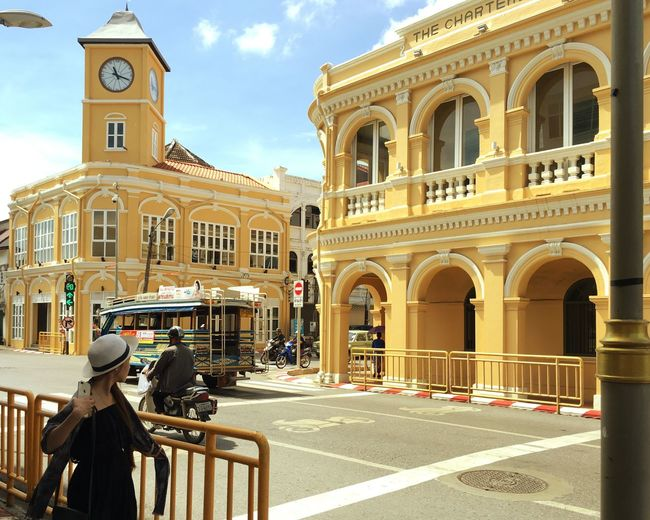 Paint The Town Yellow Real yellow buildings in Phuket old town Architecture Building Exterior Built Structure Real People Sunlight Sky Outdoors Day City People Adult Seeing Look Looking Backgrounds Only Women Junction Building Colors Beautiful Classic Chino-Portuguese Chinoportuguese