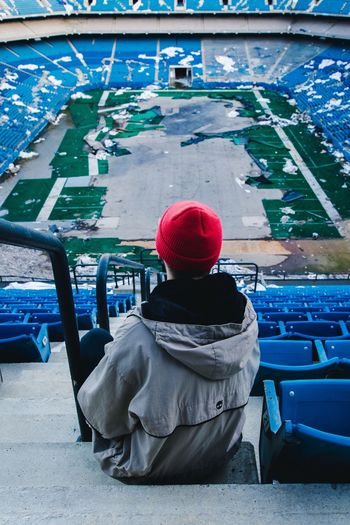 Rear View Sitting Real People One Person Transportation Day Cap Men Warm Clothing Outdoors Adult One Man Only Adults Only People Been There. Done That. Be. Ready. Visual Creativity The Traveler - 2018 EyeEm Awards