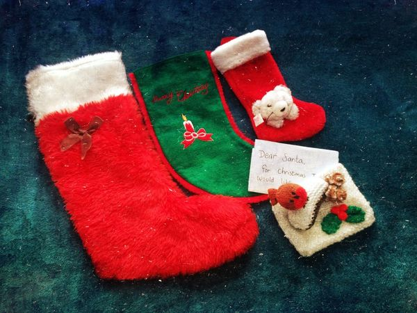 How You Celebrate Holidays Christmas stockings all ready for filling on Christmas Eve Victoria Gardner IPhoneography Stockings Stocking  How You Celebrate Holidays Christmastime Merry Christmas Christmas Eve Christmas Xmas Santa Santa Claus Wish Wishing Wishes Excitement Wonderment Children
