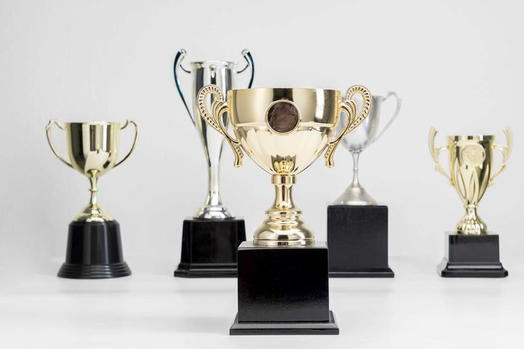 Variety of Trophy Cup on white background Trophy AWARD Achievement Indoors  Success Still Life No People Gold Colored Winning Studio Shot Table Shiny Metal Competition Close-up Choice Side By Side Variation Wall - Building Feature Group Of Objects Silver Colored