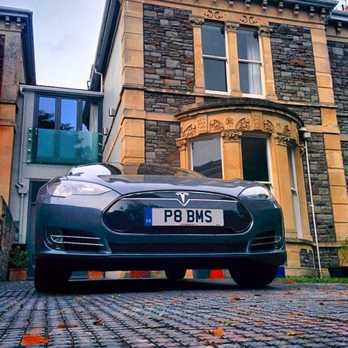 Tesla Model Models Electric ecar car funny perpestive tipical english architecture