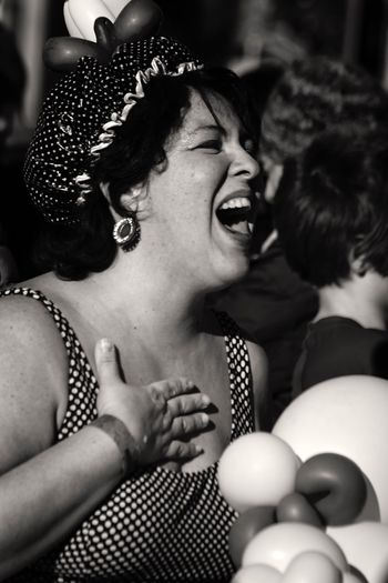 Happiness Celebration Fun Enjoyment Cheerful Headshot Portrait Of A Woman Woman Real People Portrait Coney Island / Brooklyn NY Brooklyn Ny Black And White Photography Blackandwhite Blackandwhite Photography Black And White Head And Shoulders