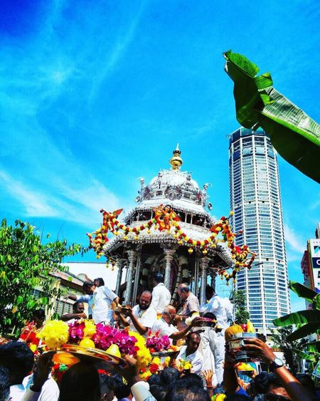 Religion Spirituality Real People Men Place Of Worship Large Group Of People People Georgetown Penang UNESCO World Heritage Site Penang Heritage Penang Malaysia Tamil Religious Ceremony Tamil Culture Spirituality Hinduism Penang Silver  Lord Murugan Chariot Festival Blue