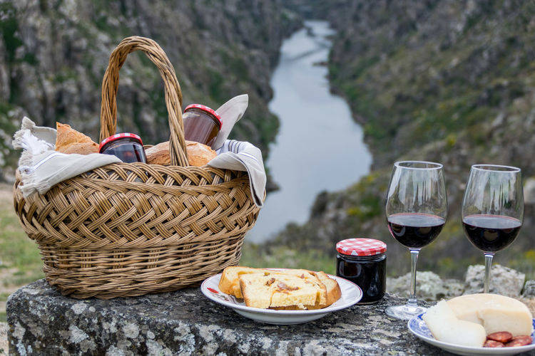 Picnic and landscape Basket Day Food Food And Drink Freshness No People Outdoors Picnic Picnic Basket Red Wine Wine Wineglass
