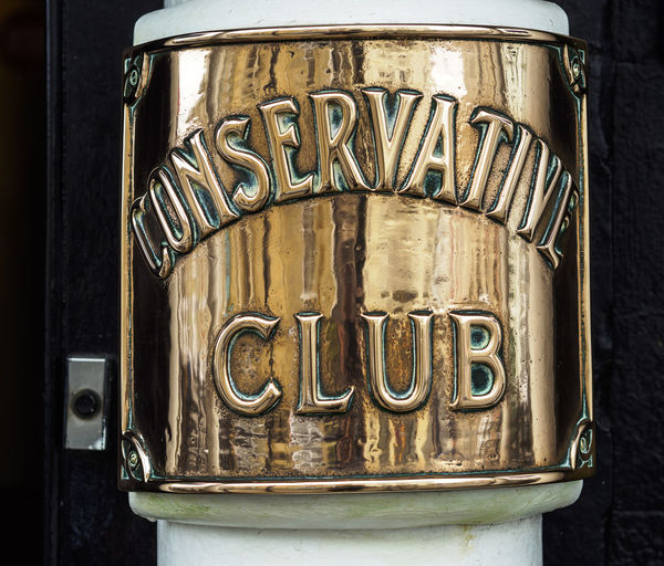 sign outside the conservative club Truro cornwall Brass Close-up Club Conservative Metal No People Reflections Sign
