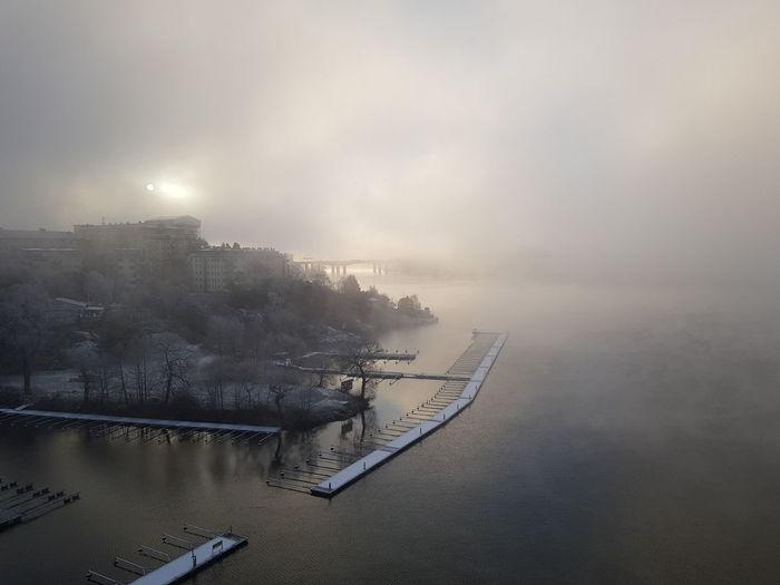 Amazing Dull But Beautiful Cold Temperature Wintertime Sunrise Nature Bridge Water Sunbeam Water Fog Sky Landscape Weather Foggy
