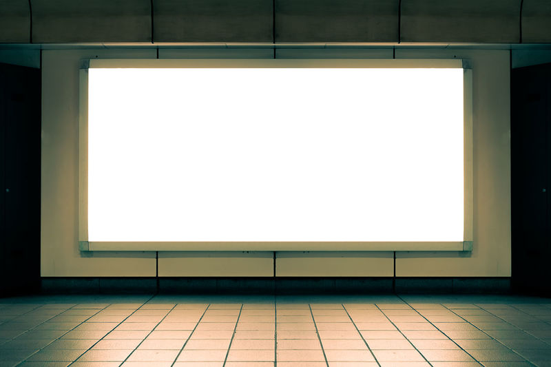White wall of illuminated room