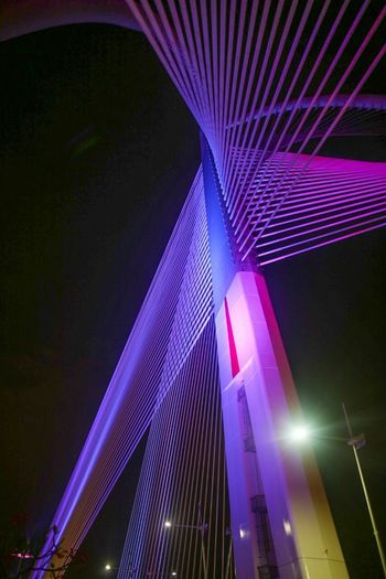 light of bright Purple Multi Colored Night Pink Color No People Nightlife Outdoors City Bridge View Light In The Darkness