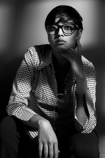 Eyeglasses  Style Graphic Art Creative Shots Indianphotographer Creative Light and Shadow Creative Magazine Fashion Adult Waist Up Portrait Only Women People Indoors  One Person One Woman Only Pattern Front View Sitting Fine Art Portrait Old-fashioned Young Adult Horn Rimmed Glasses One Young Woman Only Capture Tomorrow