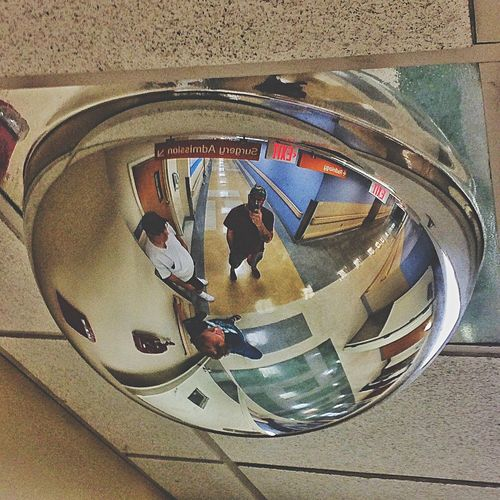 At the hospital.... That's Me! That's Me :) Selfie ✌ EyeEm Glass - Material Mirror Reflection Reflection Photography Looking Up Convex Hospital Me :)  Gay Gayboy Gayguy InlawsIn Laws Transparent Man Made Object Bridgeport  Connecticut Waiting