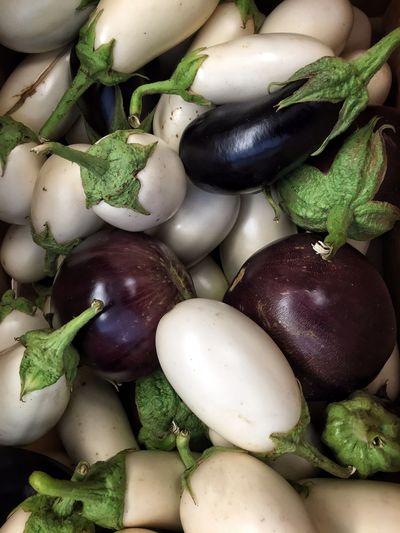 Full Frame Shot Of Various Eggplants For Sale At Market