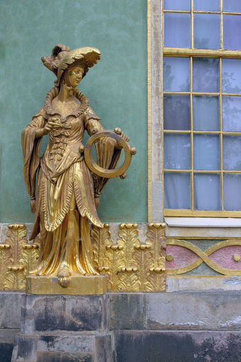 Germany🇩🇪 Architecture Art And Craft Building Exterior Built Structure Gold Colored No People Potsdam Park Sanssouci Statue Wall - Building Feature