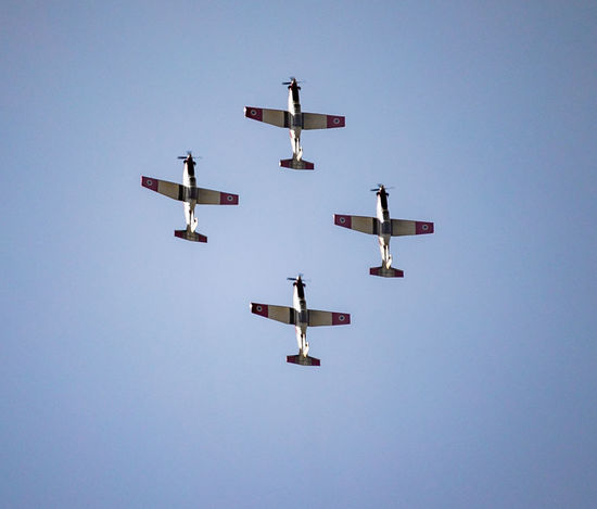 rehearsal of the Israeli Air Force aerobatic team Aerobatic Team Air Force Air Vehicle Airplane Airshow Airshow Beechcraft Bird Blue Clear Sky Day Fighter Plane Flight Flight ✈ Flying Ii Israeli Air Force Low Angle View Military Airplane Outdoors Sky Smoke T-6 Texan Teamwork Transportation