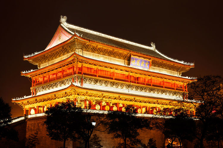 Ancient Architecture Beauty Black Background Building Exterior Built Structure Business Finance And Industry China Chinese Lantern Festival City Classical Style Cultures Drum Tower Gold Gold Colored Illuminated Night Nightphotography No People Outdoors Pavilion Red Sky Tranquil Scene Travel Destinations