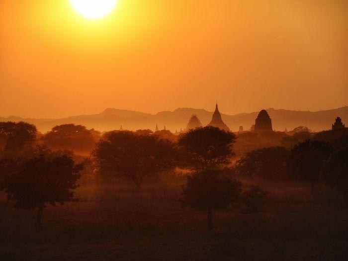 Bagan Sunset Sunset Fog Travel Destinations Outdoors Sun Ancient Silhouette Tree Capture Tomorrow