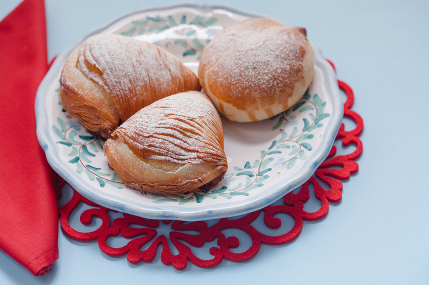 Sfogliatelle served for breakfast in Naples, Italy Breakfast Coffee Authentic Authenticfood Branch Close-up Coffee Cup Food Food And Drink Indoors  Light Blue No People Pastel Colors Plate Ready-to-eat Sfogliatella Sfogliatella Frolla Sfogliatella Napoletana Sfogliatella Riccia Sfogliatelle Sweet Food Food Stories